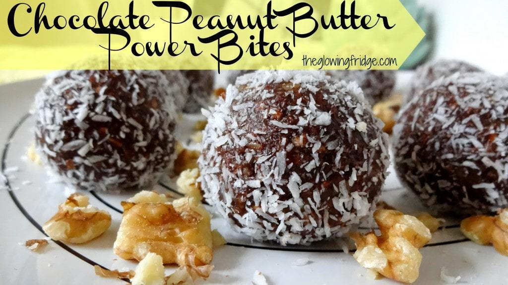 Chocolate Peanut Butter Power Bites - Raw Vegan - from theglowingfridge.com