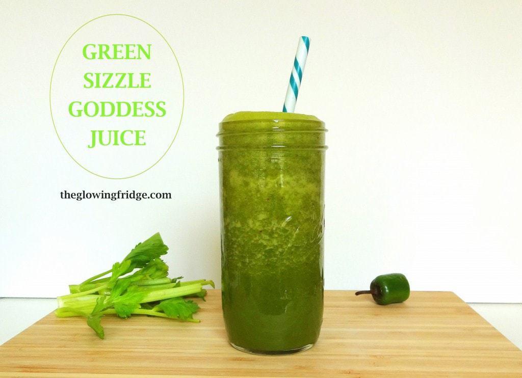 Green SIZZLE Goddess Juice - RAW, VEGAN from theglowingfridge.com