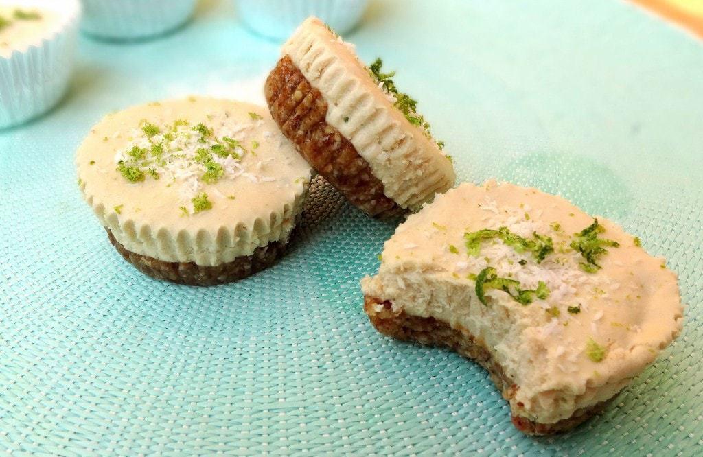 Key Lime Coconut Raw Vegan Cheesecake Cups - from theglowingfridge.com