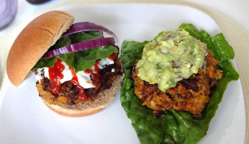 Chickpea & Lentil Veggie Burgers - Vegan - from theglowingfridge.com