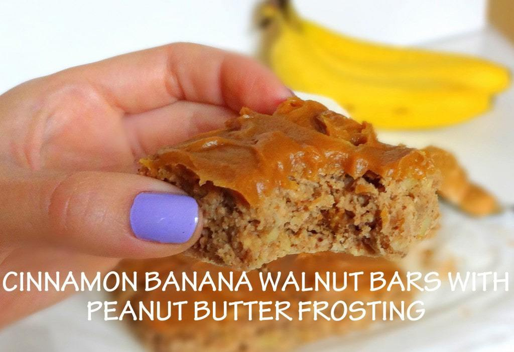 Cinnamon Banana Walnut Bars with Maple Peanut Butter Frosting - Vegan - from theglowingfridge.com