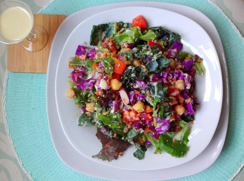 Spring Weekend Power Salad with a Creamy Tahini Dressing - Raw Vegan - from theglowingfridge.com