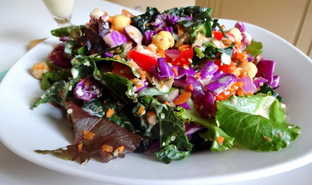 Spring Weekend Power Salad with a Creamy, Tahini Dressing - Raw Vegan - from theglowingfridge.com
