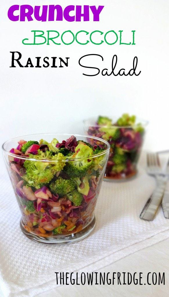 Crunchy Broccoli Raisin Salad, Vegan, Soy-Free, from theglowingfridge.com