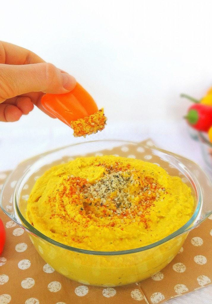 Yellow Hemp Hummus - Creamy and Delicious - And Vegan too! From theglowingfridge.com