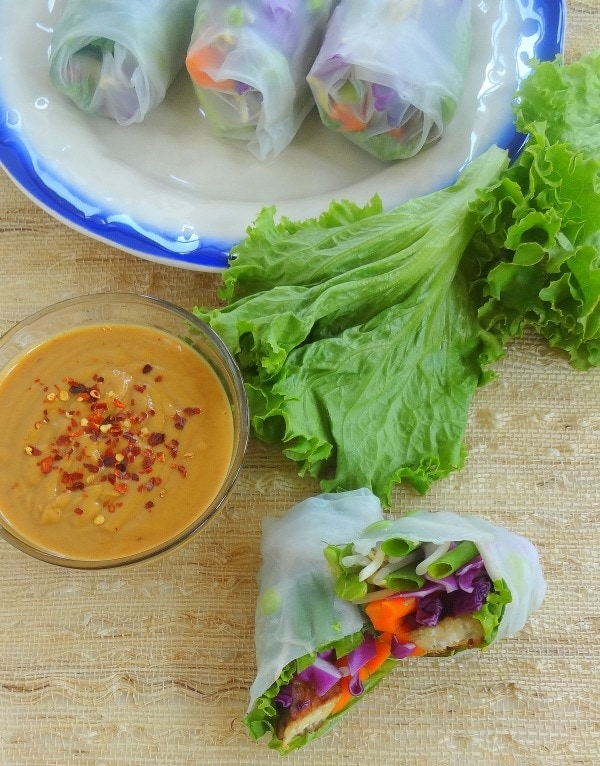 Vegan Spring Rolls with Tempeh and Fresh Veggies, paired with a homemade Spicy Peanut Dipping Sauce - from TheGlowingFridge