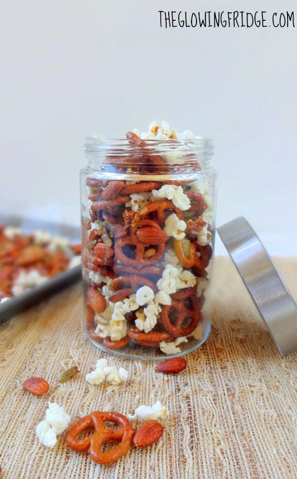 Game Day Sweet and Spicy Snack Mix - Vegan - Easy to make at home and definitely an addicting crowd pleaser! Plus, no weird ingredients. From The Glowing Fridge.