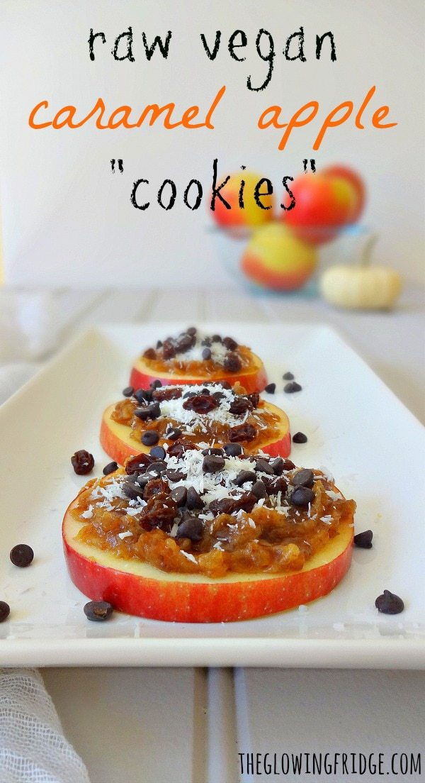 "Raw Vegan Caramel Apple Cookies made with ""date caramel"" plus your favorite toppings. So easy and fun to make! These ""cookies"" are a perfect low-fat healthy snack or even breakfast option! From The Glowing Fridge"