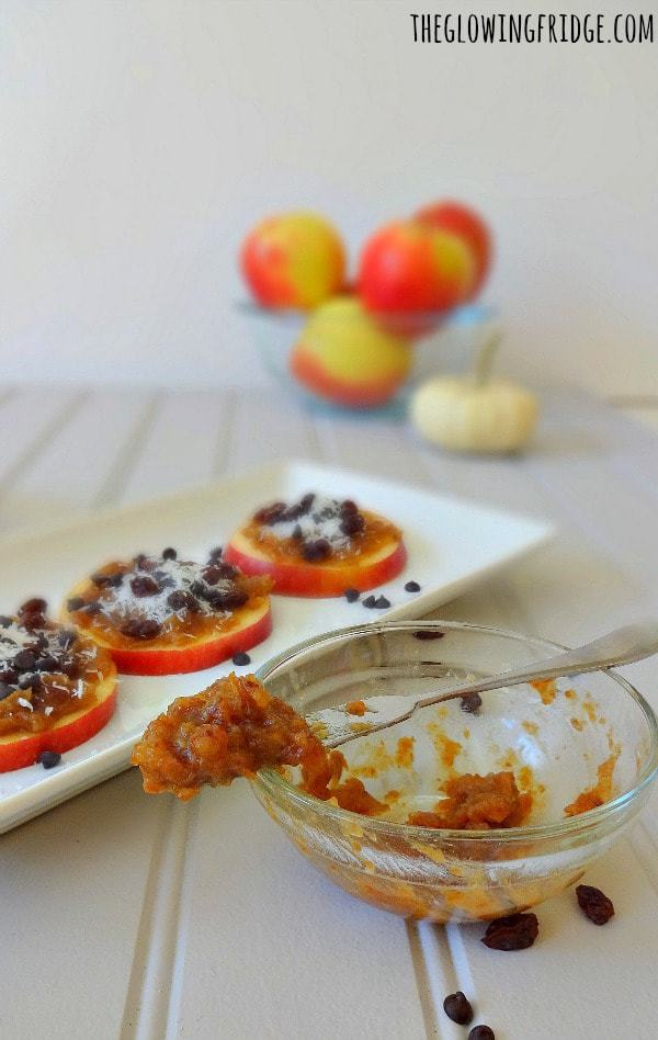 """Raw Vegan Caramel Apple Cookies made with """"date caramel"""" plus your favorite toppings. So easy and fun to make! These """"cookies"""" are a perfect low-fat healthy snack or even breakfast option! From The Glowing Fridge"""