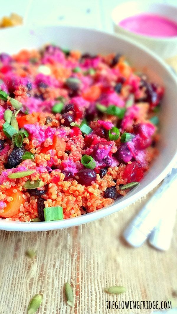 Quinoa Stuffing with Cashew Cranberry Sauce - a deliciously beautiful plant-based vegan and gluten-free stuffing recipe! The vibrant pink cranberry sauce enhances all the flavors and adds wonderful color! From The Glowing Fridge.