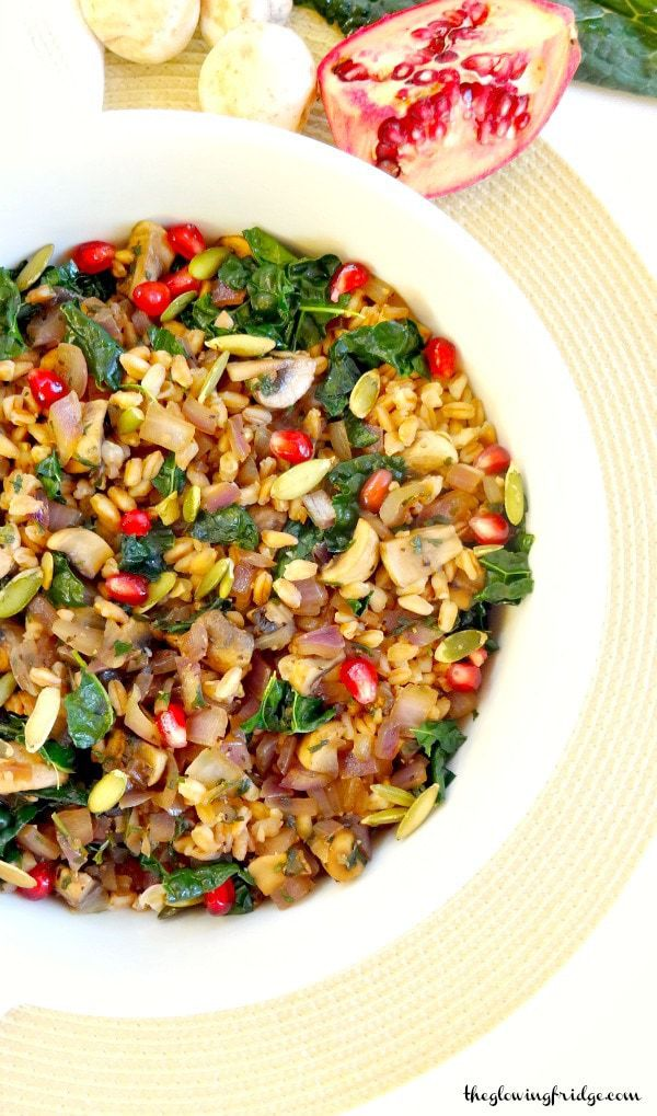 Mushroom and Kale Farro Salad - vegan, oil-free option and packed with plant protein - fresh, savory and hearty.