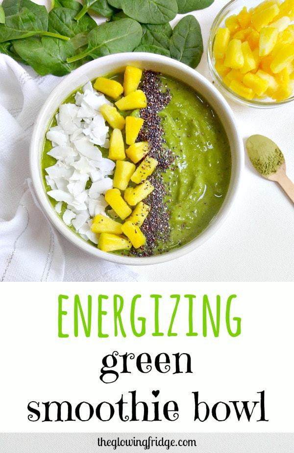 Energizing Green Smoothie Bowl - vegan, healthy, easy and tastes like ice cream - this green bowl of goodness is thick, creamy, naturally sweet and will leave you feeling balanced.