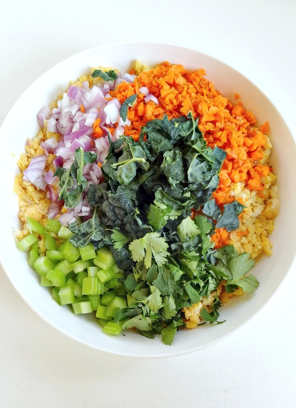 Vegan and GF - Mashed Chickpea Salad. Easy, yummy and healthy with lots of veggies, plant protein, fiber, flavor and vibrant crunch