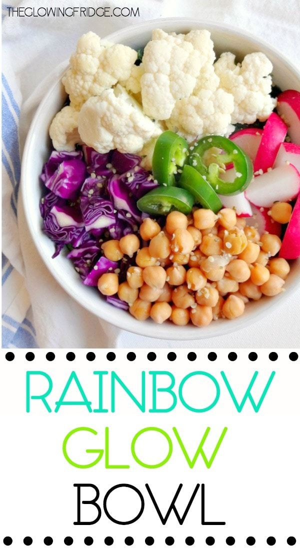 'Rainbow Glow Bowl' vegan and gluten free, fresh and vibrant with leafy greens, lots of vegetables, plant protein and fun toppings. Totally customizable to your liking. From The Glowing Fridge