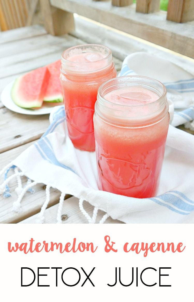 Watermelon Cayenne Detox Juice - ultra cleansing, hydrating, refreshing and spicy while being naturally sweet. Only 3 ingredients to detox and rev up your metabolism. An icy and spicy summer drink. From The Glowing Fridge.
