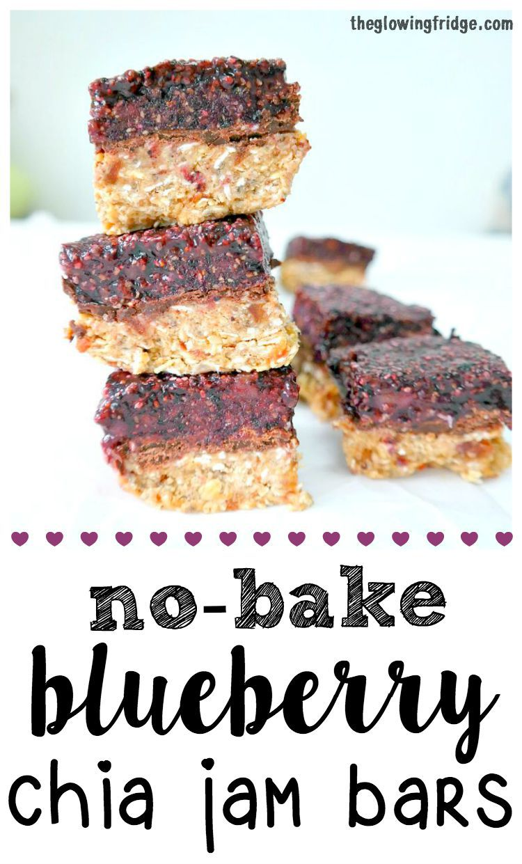 No-Bake Blueberry Chia Jam Bars - vegan and gluten free - chewy, sweet ...