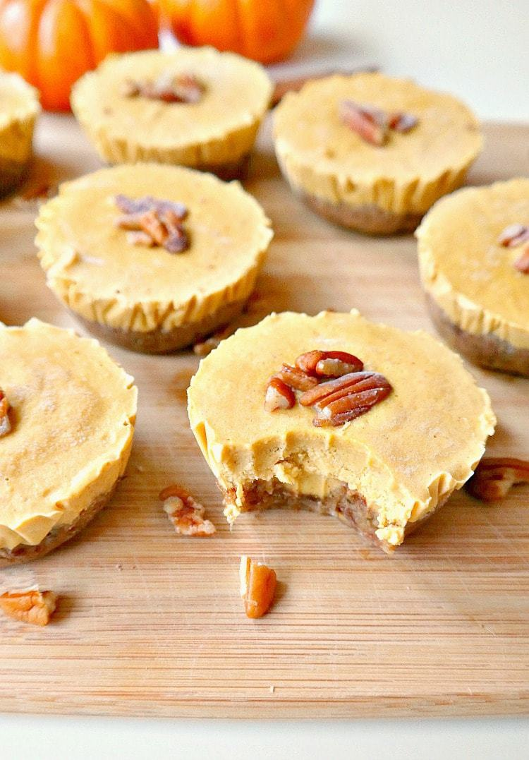 Mini Vegan Pumpkin Pie Cheesecakes from theglowingfridge.com. I was craving vegan cheesecake bites and bars, and these look adorable! I can't wait to make them for a dairy free and vegan dessert. Collected on FoodKollective.com