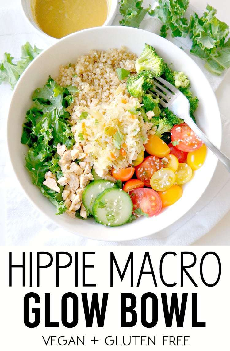 Hippie Macro Glow Bowl. Vegan and Gluten Free. A balancing blend of nourishing quinoa, leafy greens, sautéed broccoli, crunchy cucumber and tomatoes and kraut with a creamy maple tahini dressing. The perfect combination for a feel-good meal! From The Glowing Fridge.