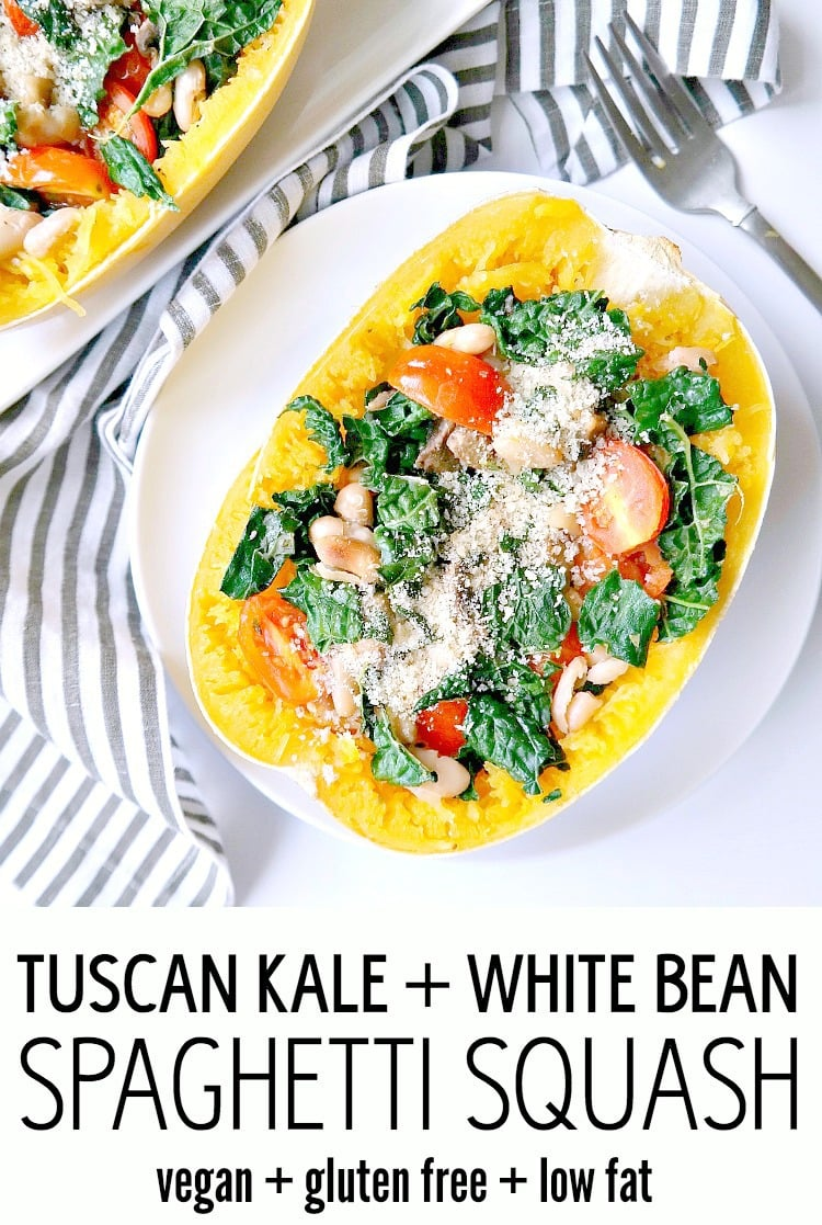 Tuscan Kale and White Bean Spaghetti Squash Bake - Vegan, Gluten Free & Low Fat. This healthy and hearty recipe is filling, nourishing and savory. With kale, tomatoes, mushrooms and white beans, it's a feel-good meal that's complete in the best way. From The Glowing Fridge.