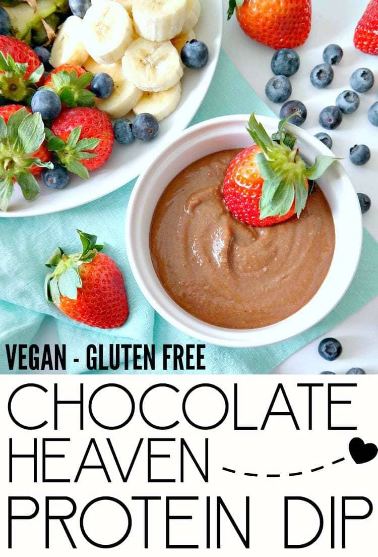 Chocolate Heaven Protein Dip. VEGAN + GLUTEN FREE. A healthy fondue-like dessert dip that can be made in 3 minutes. Tastes heavenly and perfect for dipping strawberries and fresh fruit in, even as a protein-packed post workout snack! From The Glowing Fridge.