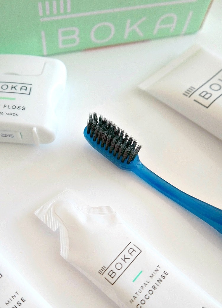 Boka Oral Care Subscription Box with a Charcoal Toothbrush, Cruelty-Free Minty Toothpaste, Teflon & Petroleum-Free Minty Floss and CocoRinse for oil pulling! From The Glowing Fridge. #crueltyfree #beauty #oilpulling