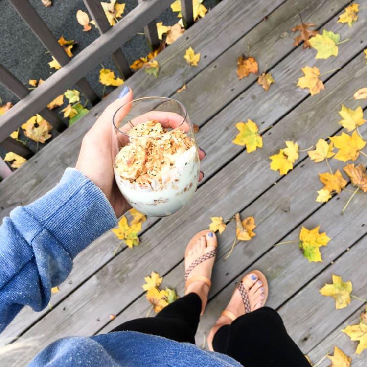 What I Ate: 9 Plant Based Breakfast Ideas. Vegan Dairy Free Yogurt and Granola Parfait with banana, chia and hemp seeds.
