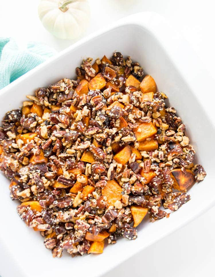 Roasted Sweet Potatoes with Maple Pecan Date Crumble. Vegan and Gluten ...
