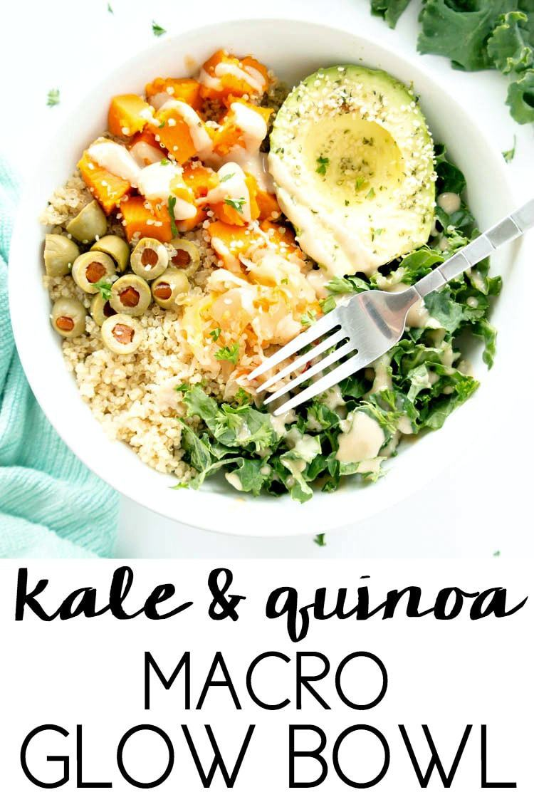 Savory Kale & Quinoa Macro Glow Bowl. Vegan, Gluten Free. Balancing, nourishing, savory and delicious, with a creamy maple tahini dressing, avocado, roasted butternut squash and kraut for a balanced macro bowl.