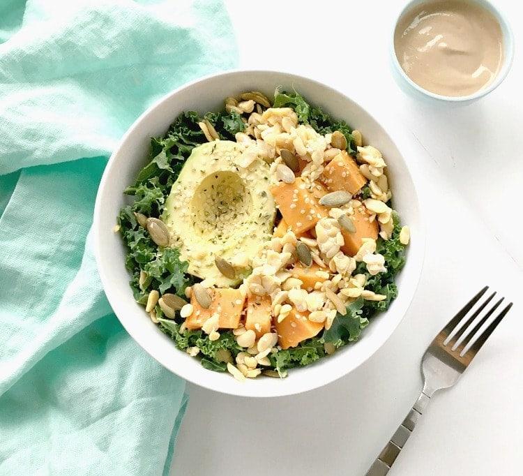 What I Ate Wednesday - plant based and vegan - Kale, Avocado & Sweet Potato Glow Bowl