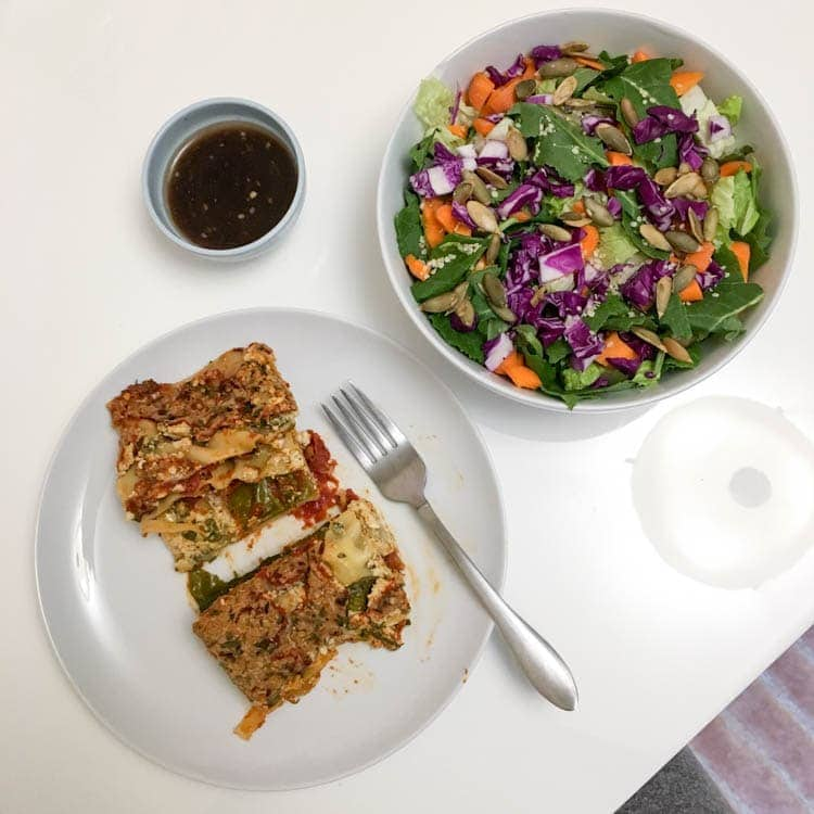 Vegan Tofu Ricotta Lasagna with a side salad