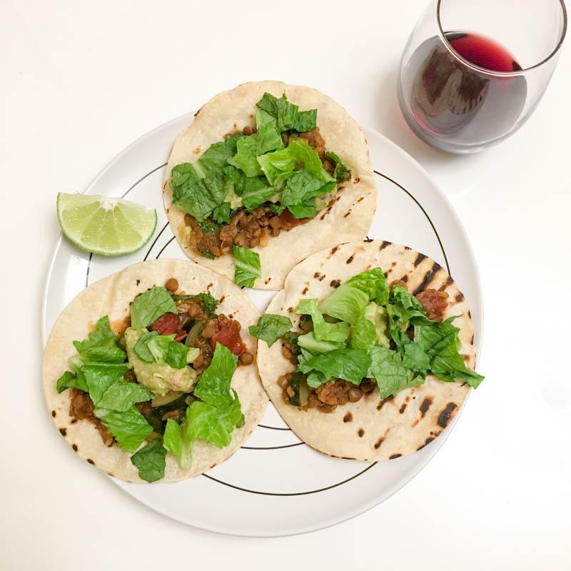 What I Ate Wednesday. Plant Based Vegan. Lentil Veggie Tacos.