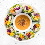 Tofu Veggie Summer Rolls with Spicy Almond Butter Sauce