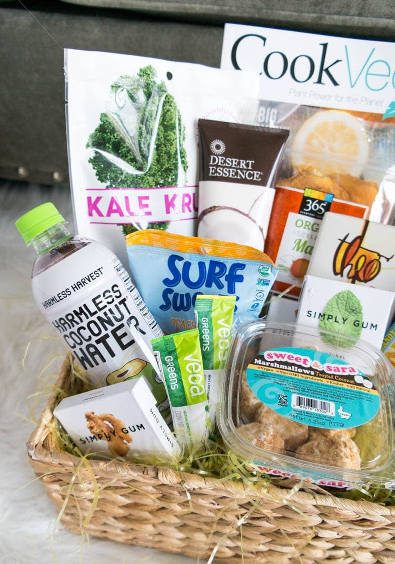 "Vegan Easter Basket Ideas. Filled with goodies like vegan candy, chocolate, savory snacks and easter treats, along with beauty finds, vegan reads & ""eggs""!"