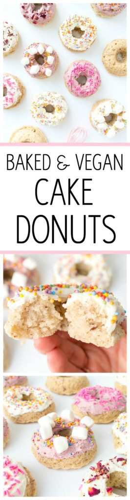 Baked Vegan Cake Donuts. Fluffy, only 9 simple ingredients with a glaze or frosting option! These yummy donuts come together quickly and are easy enough that anyone can make them! #vegan #donuts #frosted #baked #cake