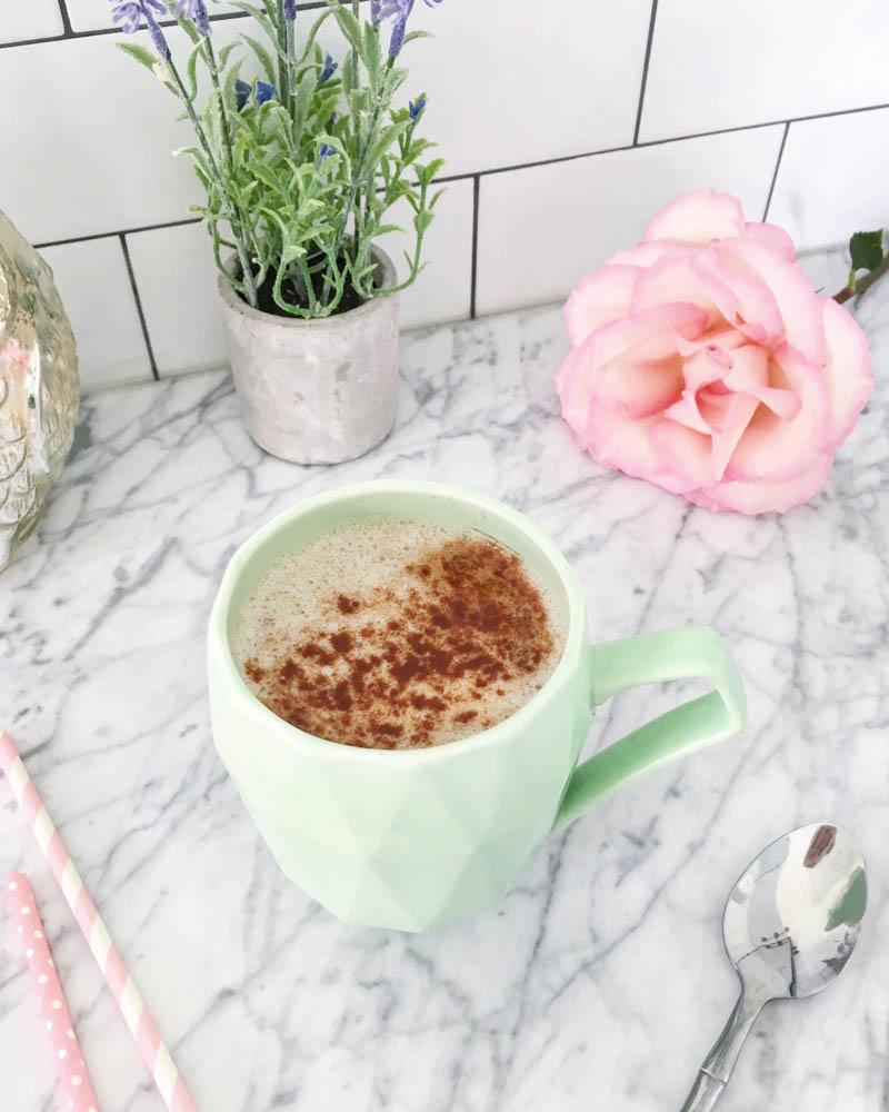 Sugar-Free Coconut Coffee with lots of cinnamon, stevia, monkfruit and coconut cream to make it frothy. #vegan #plantbased #sugarfreecoffeerecipe #creamy