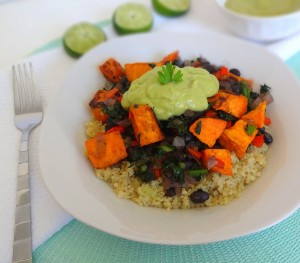 Sweet Potato Protein Bowl with Avocado Lime Sauce - Vegan - from theglowingfridge.com