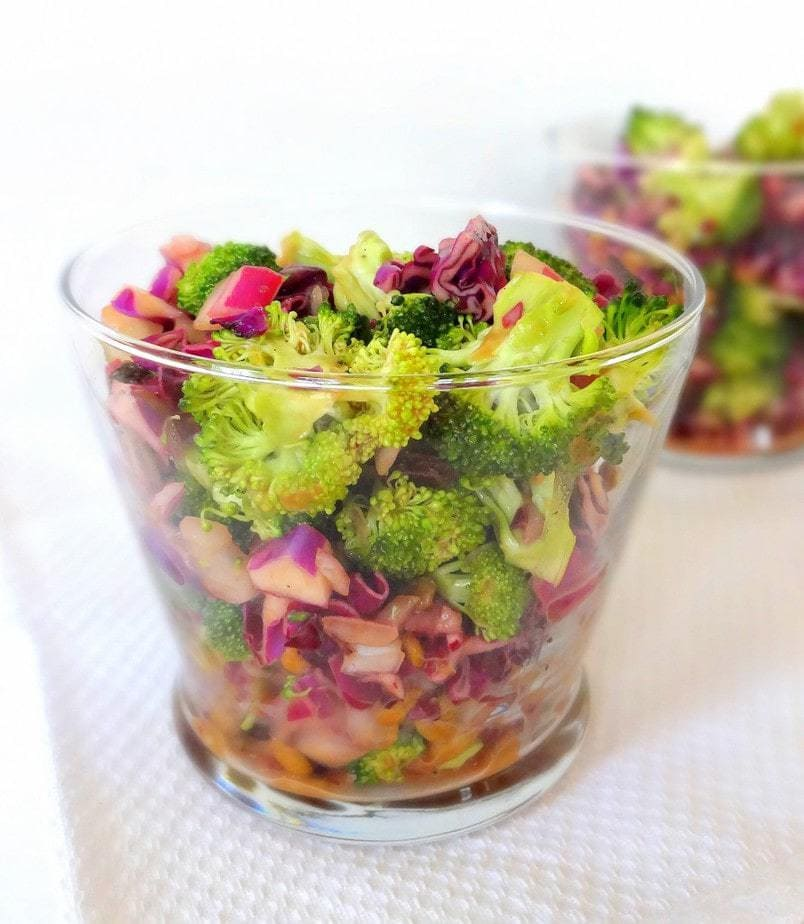 Crunchy Broccoli Raisin Salad, Vegan, Soy-Free, from theglowingfridge.com