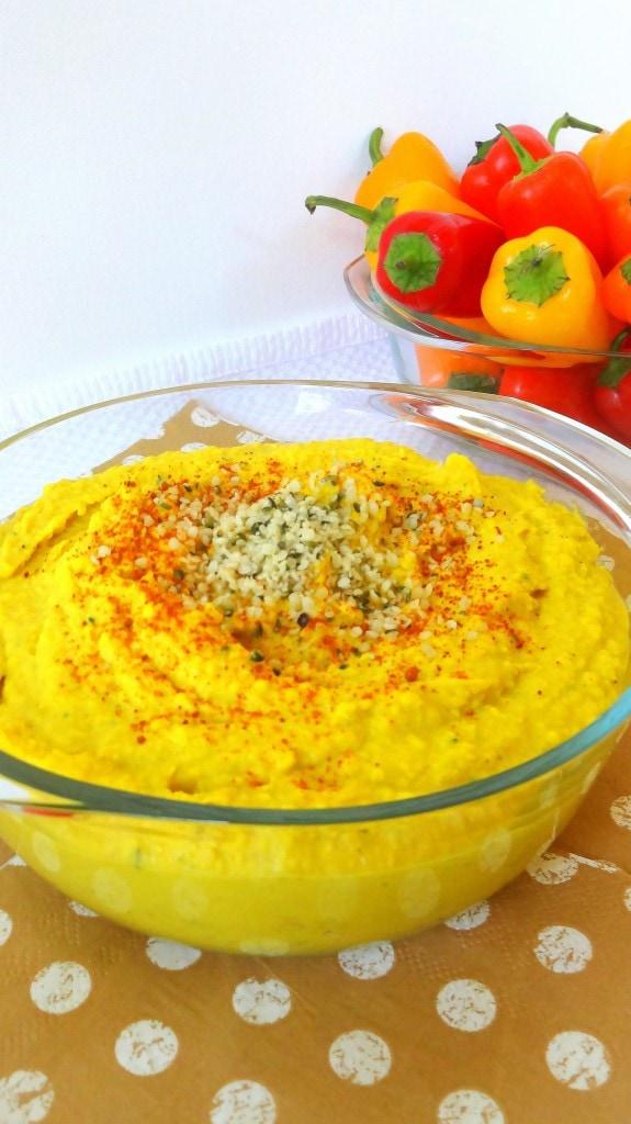 Yellow Hemp Hummus - Creamy and Delicious - And Vegan too! From theglowingfridge.com
