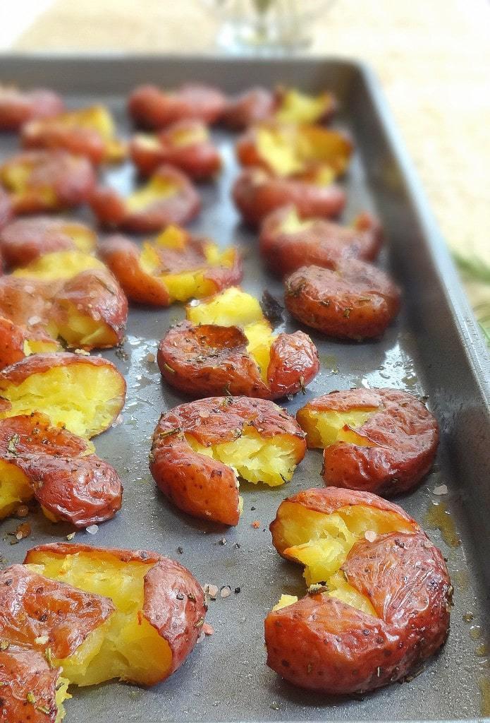 Smashed Rosemary Potatoes - Roasted, Crispy and Delightful - from TheGlowingFridge