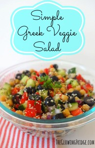 Simple Greek Veggie Salad with Easy Homemade Dressing. Perfectly crunchy, full of flavor, color, protein and nutrients.