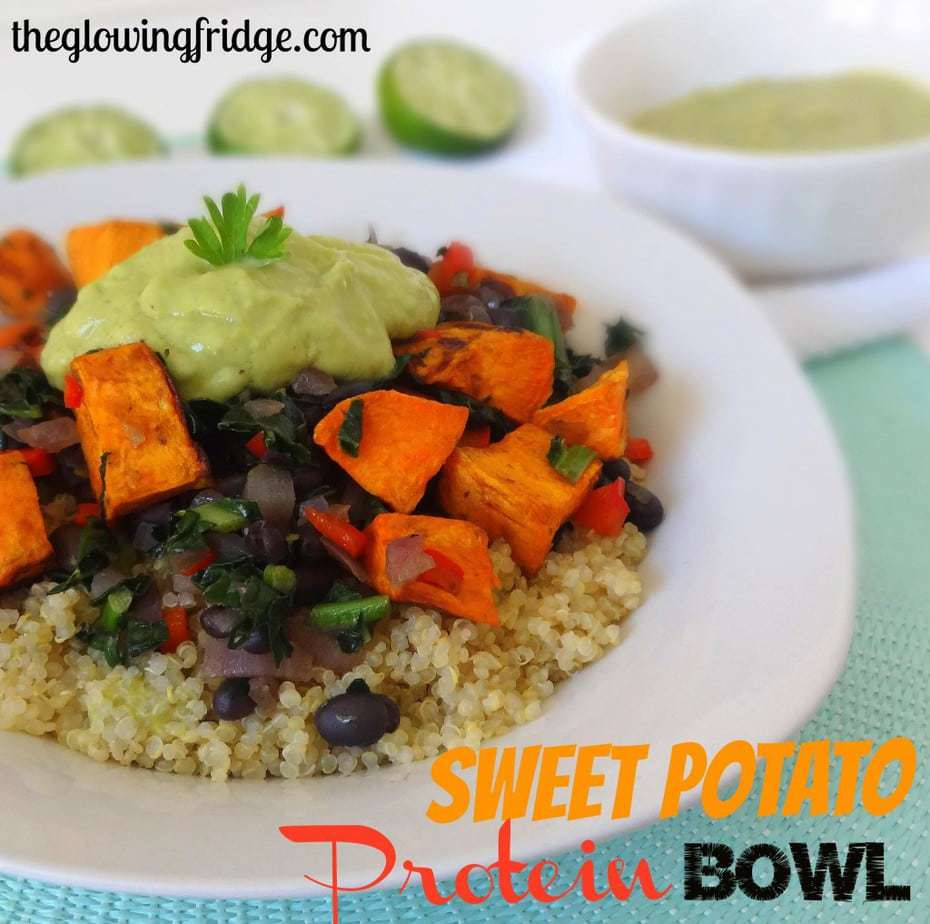 Sweet Potato Protein Bowl with Avocado Lime Sauce- Vegan - from theglowingfridge.com