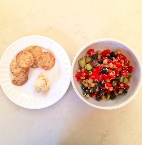 Simple Greek Veggie Salad with hummus and pita crackers  - The Glowing Fridge