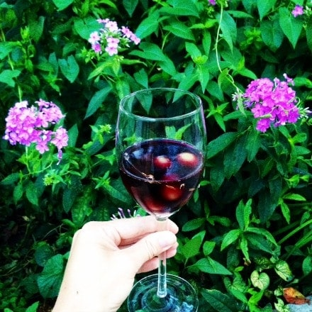 Red wine with frozen grapes instead of ice cubes! Sometimes I like my wine cold. My new favorite idea! - The Glowing Fridge