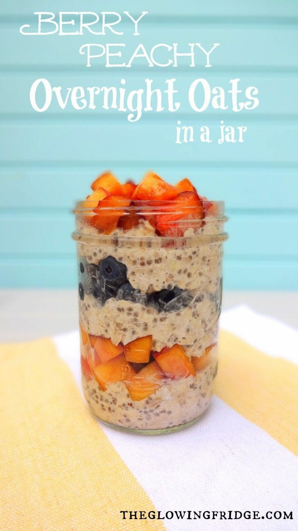 Vegan, No-Cook Overnight Oats layered with fresh blueberries and peaches - with added superfood chia seeds for an extra boost - A healthy on-the-go breakfast! - From The Glowing Fridge