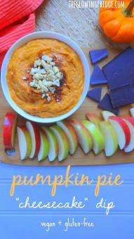 """Pumpkin Pie """"Cheesecake"""" Dip. Guilt-free, Vegan, and Gluten-Free. The perfect dip for the Fall season! Dip apples in for a snack or chocolate/cookies in for a creamy dessert. From The Glowing Fridge."""