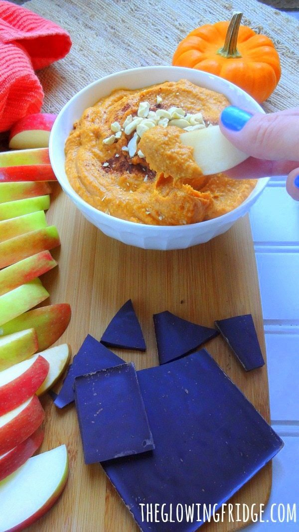 "Pumpkin Pie ""Cheesecake"" Dip. Guilt-free, Vegan, and Gluten-Free. The perfect dip for the Fall season! Dip apples in for a snack or chocolate/cookies in for a creamy dessert. From The Glowing Fridge."