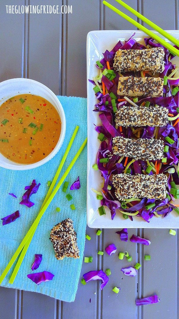 Sesame Crusted Tempeh Sticks - sort of like crispy chicken tenders, but vegan! Served with a citrus soy dipping sauce! From The Glowing Fridge
