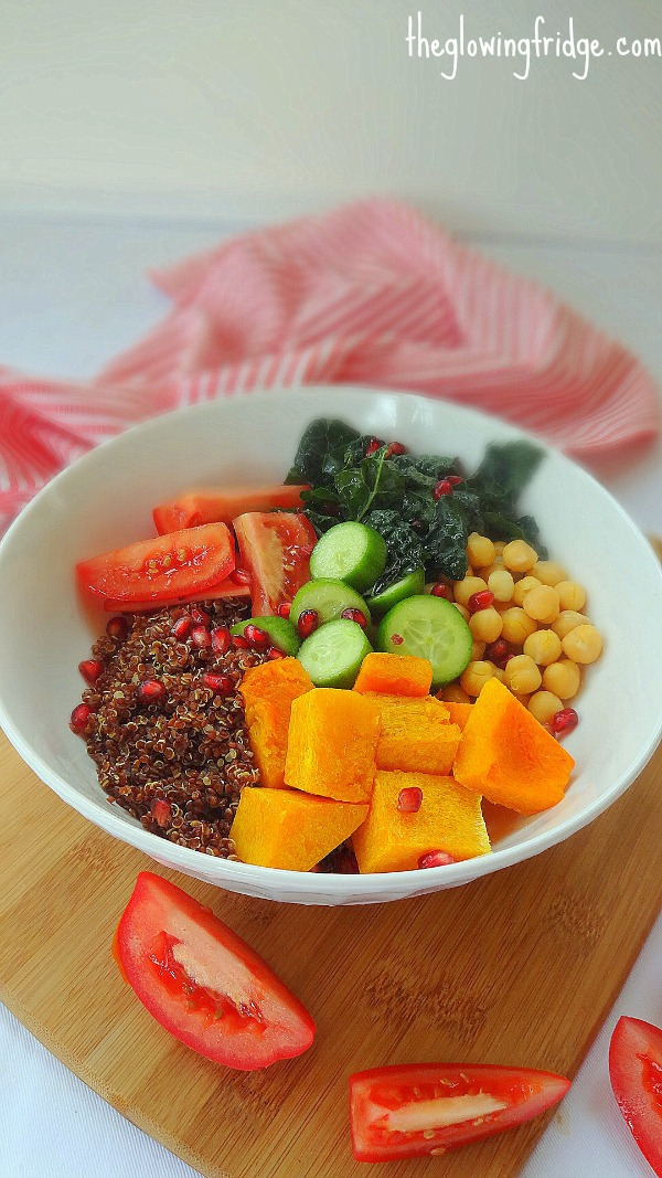    Autumn Glow Bowl    A cleansing, filling, vegan, Glow Bowl to transition into the new season with warming, comforting ingredients. A super clean, delicious recipe with butternut squash, quinoa, kale, chickpeas, tomatoes and a sprinkle of pomegranate seeds! From The Glowing Fridge.