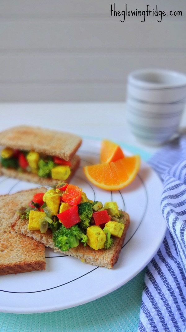 Tofu Scramble served on toast - vegan and GF - simple, yummy and healthy! From The Glowing Fridge