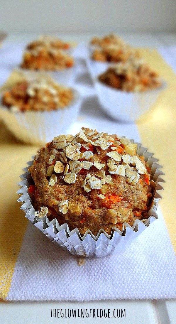 Vegan and GF 'Apple Carrot Muffins' - A healthy on-the-go breakfast option! The carrots and apples add sweetness and moisture, making them the perfect pair! From The Glowing Fridge